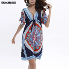 Sexy v neck milk silk floral printed dress plus size beach dress for women