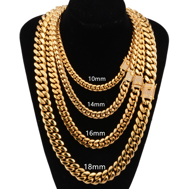 Hiphop mens stainless steel diamond clasp 18k gold plated cuban link chain necklace