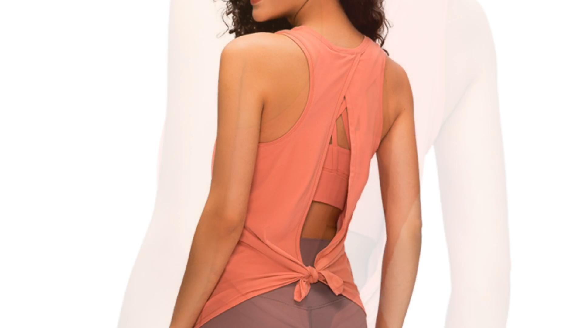Fitness abbigliamento parti superiori di carro armato all'ingrosso athetlic usura fitness gym backless sexy palestra di yoga di usura superiore di carro armato
