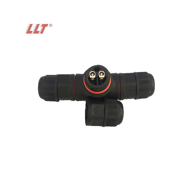 T-Tipo de Conector À Prova D' Água 2 pin IP68 250V & 15A Retardante de Parafuso da Caixa De Junção Fio Elétrico Cabo Selado conector