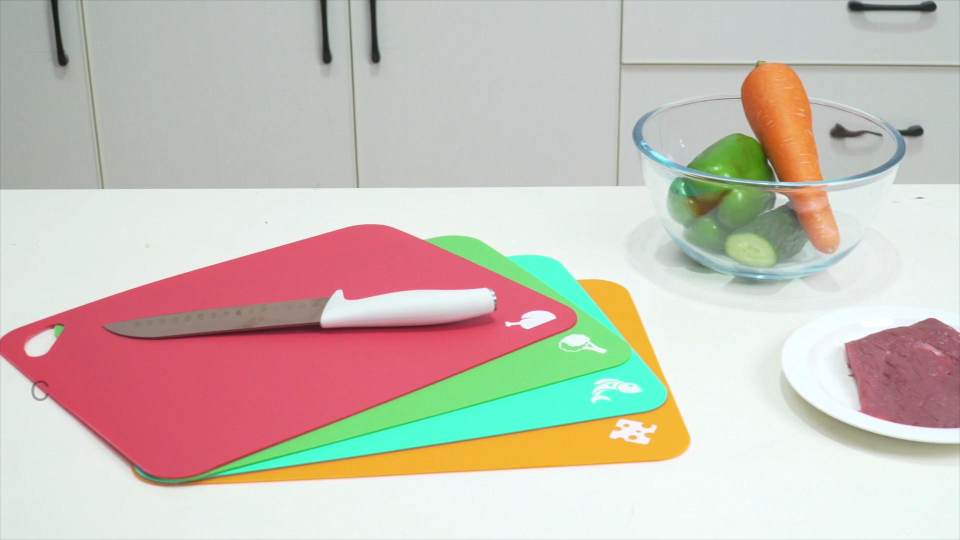 Grosir Peralatan Dapur Non-Slip Fleksibel Plastik Cutting Board Dalam Warna Yang Berbeda untuk Penggunaan Dapur