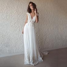 Богемное кружевное фатиновое свадебное платье 2020 прозрачное свадебное платье с v-образным вырезом в стиле бохо пляжное свадебное платье дл...(Китай)