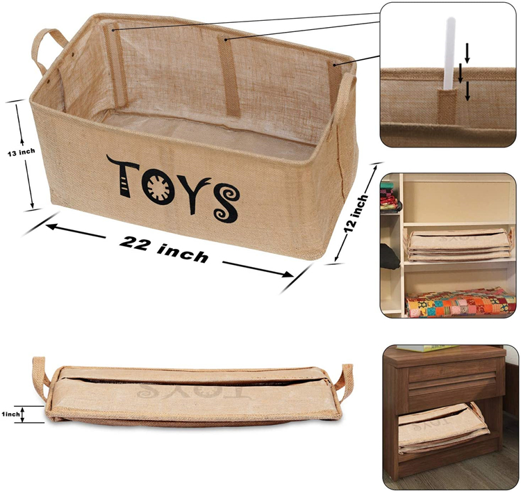 Wholesale High Capacity Multipurpose 100% Linen Baby Clothing Storage Basket Foldable Kids Toy Storage Basket