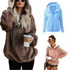 2019 Fall Winter Plus Size Women's Warm Long Sleeves Fleece Sherpa Pullover Hoodie With Pocket