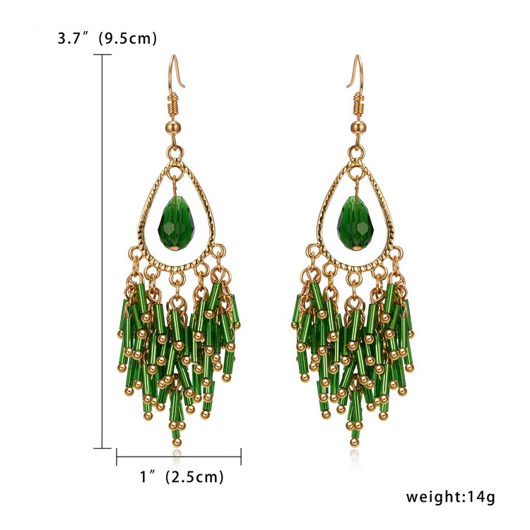 BYS012 Trade Assurance Latest Fashion Bohemia Multicolor Handmade Resin Acrylic Drop Earrings Colored Crystal Tassel Earrings