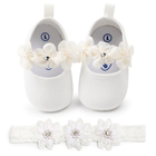 Child Moccasin Shoes Baby Dress Shoes & Headband Set Bling Diamond Flower Toddler girl Kids New Born Baby Infant Toddler Shoes