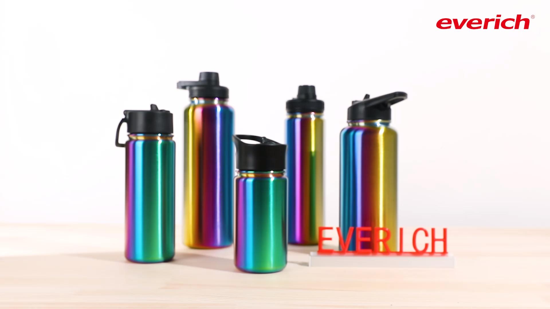 Logo personalizzato OEM bpa libero verniciato a polvere 18/8 isolamento a doppia parete in acciaio inox metallo sport drink bottiglia di acqua