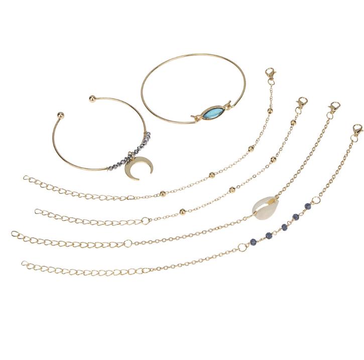Alloy Horn Crystal Bracelet Crescent Shell Bracelet Chain Combination Set fashion gold bracelet bangle