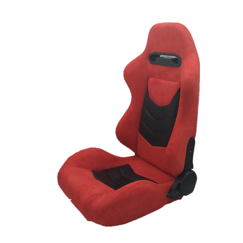 Reclinable Racing Car Bucket Seats Black PVC Leather Red Suede Seat Racing Carbon Look Stitching Slider Rails JBR1075