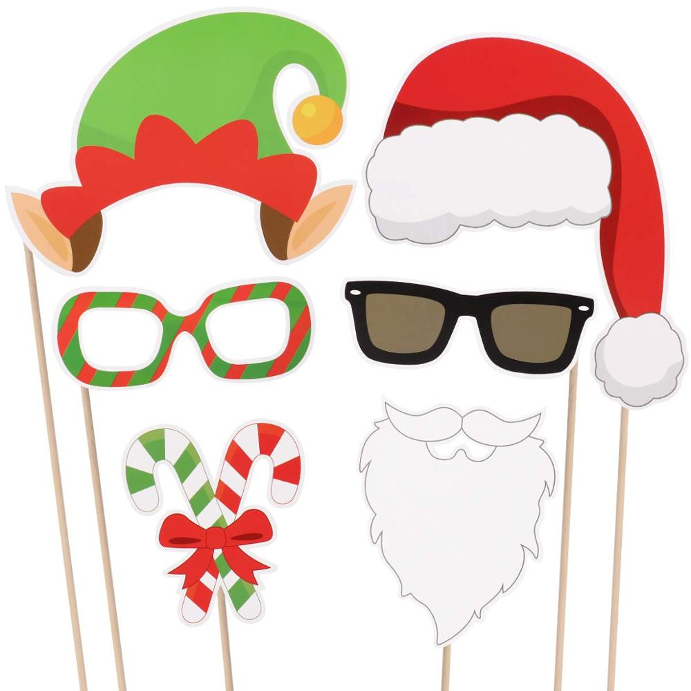 Christmas Party Photo Booth Props Creative Happy Christmas Pose Sign Kit for Party Decoration 32pcs