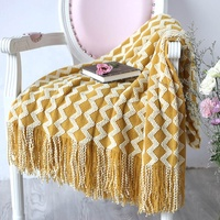 i@home nordic style cashmere wave shawl tassel soft knitted throw blanket