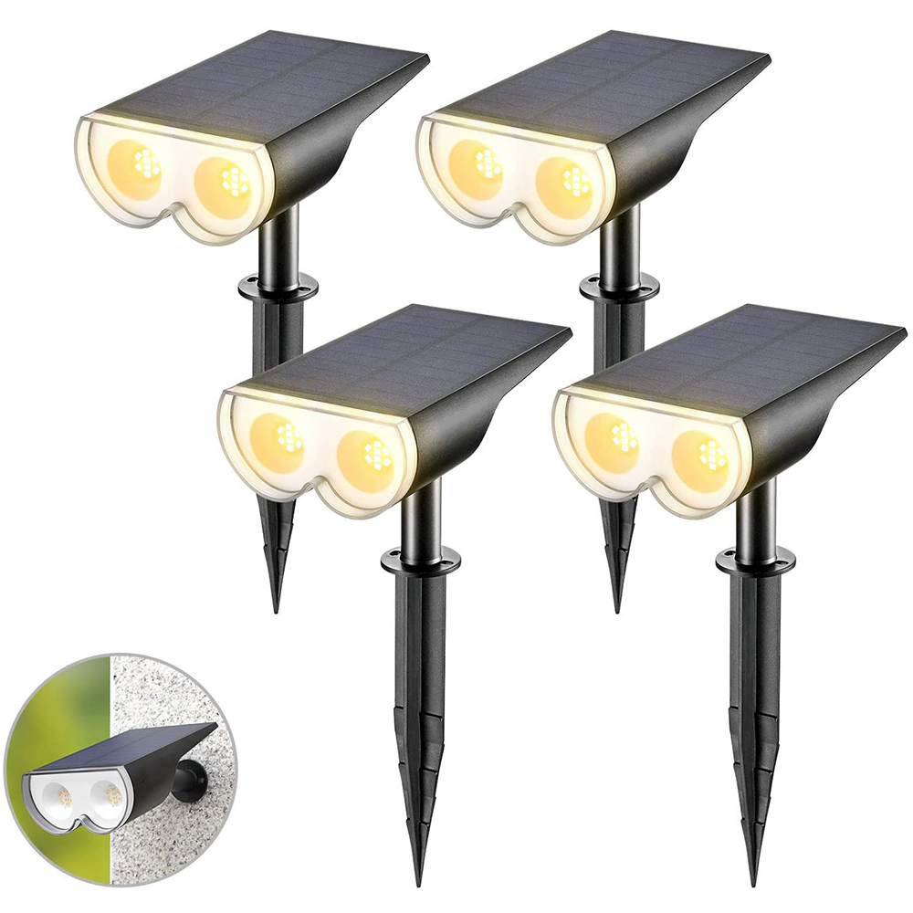 Amazon Top Sell 16LED Solar Landscape Spotlight 3000K Warm White Outdoor Wall Lights for Garden Driveway Porch Walkway