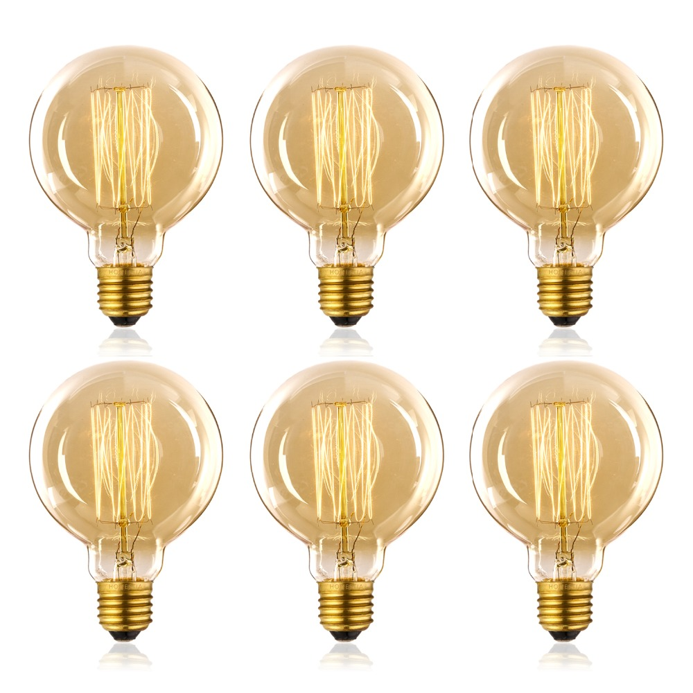 Vintage Light Bulb Retro Old Fashioned Edison Style E27 Screw 110V G95 Bulb 2700K Warm White 25W 40W 60W Tungsten Filament Bulb
