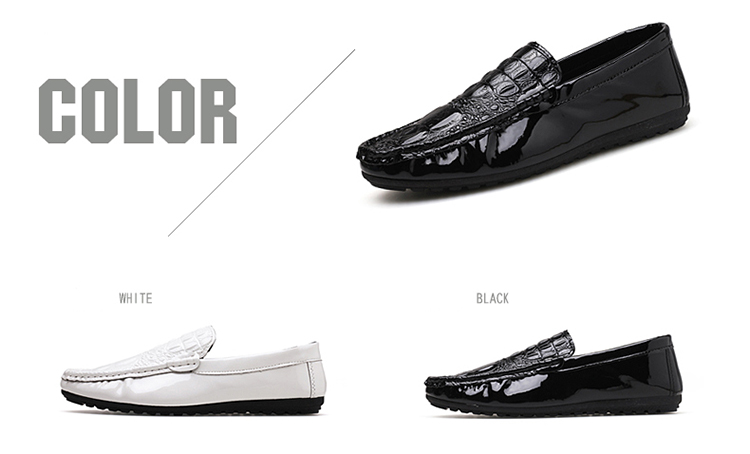 Lightweight Boat Barefoot Casual Slip On Black Alligator Crocodile Pu Leather Men Shoes Loafers