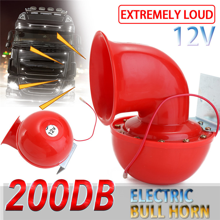 Professional 12V Red Electric Bull Horn Loud 200DB Air Horn Speaker For Car Motorcycle Truck Boat