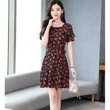 Весна-лето 2020 модное красное шифоновое мини-платье с цветочным рисунком 3XL плюс размер винтажное подиумное платье элегантные женские облег...(Китай)