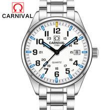 Carnival T25 светящиеся часы для мужчин, военные мужские часы, лучший бренд, Роскошные Кварцевые наручные часы, мужские часы, Reloj Hombre 2019(Китай)
