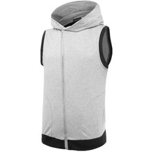 Groothandel mannen Mode <span class=keywords><strong>Lichtgewicht</strong></span> Athletic Mouwloze Hoodie Zip-Up Vest Gym dragen hoody