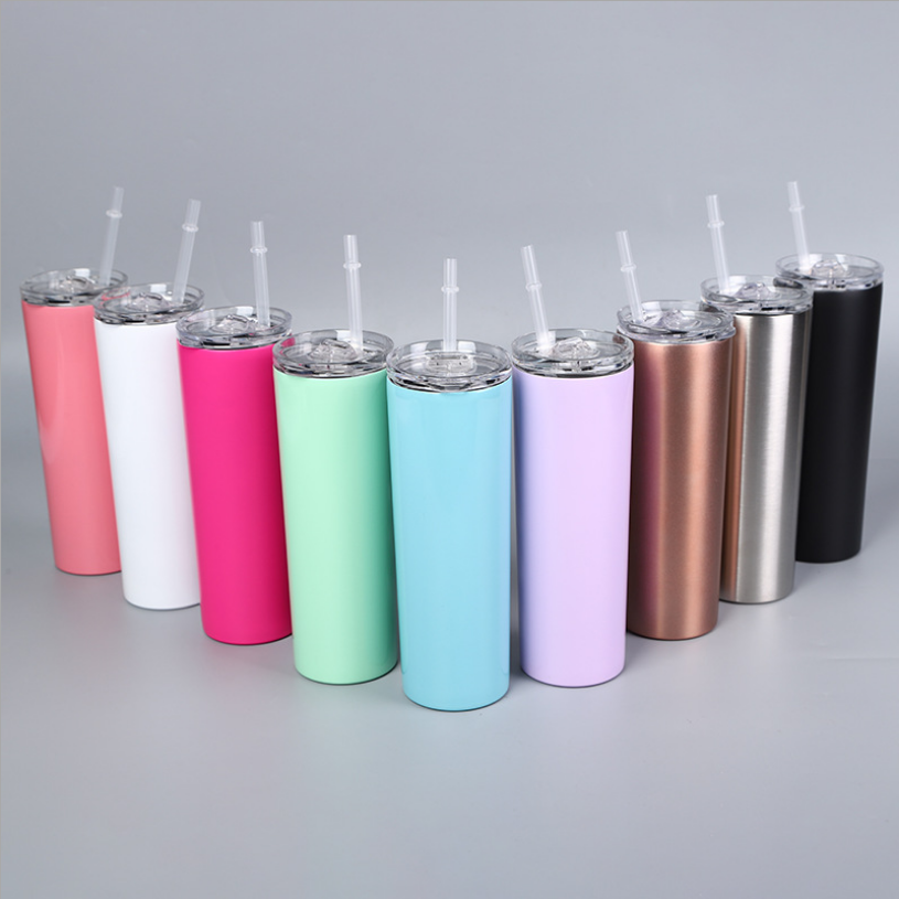 High capacity 30oz skinny tumbler straight double wall stainless steel vacuum insulated skinny tumblers with slide lid