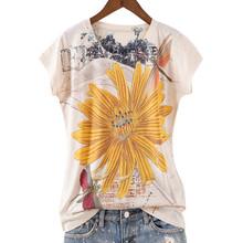 Женская футболка с принтом пиона, летняя футболка с круглым вырезом и коротким рукавом, 4XL, 2020(China)