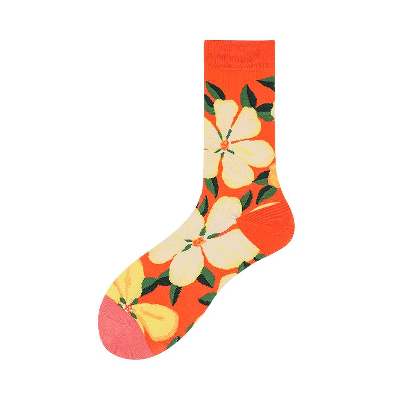 Beautiful Fashion Floral Woman Happy Socks