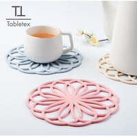 Tabletex 2020 New design environmental silicon hot pot mat coasters flower shape cup mat decoration mat
