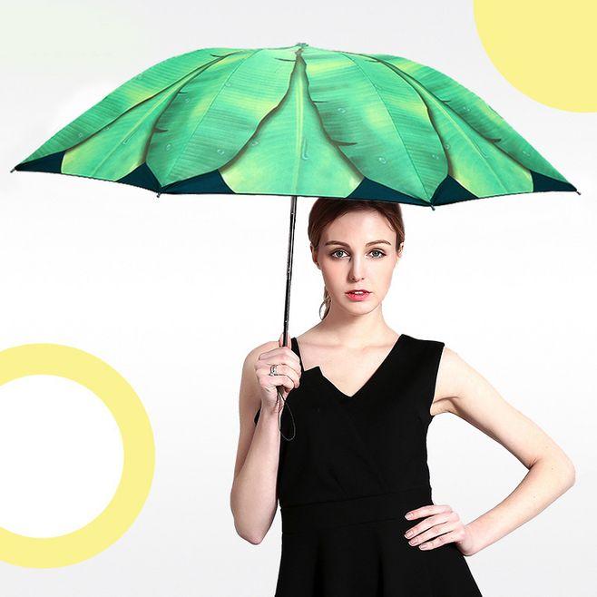 Delle donne di Sole E di Pioggia Piccolo Verde Foglia Ombrello di Vendita Della Fabbrica