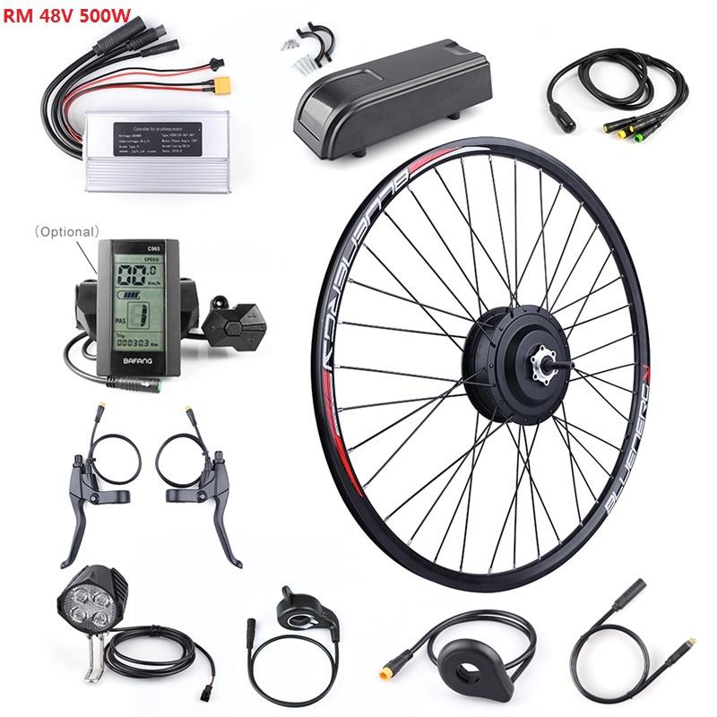 EBIKE Conversion Kit 48V 500W Bafang Hub Motor Set Electric Bike Conversion Kit 8FUN Rotary Rear Wheel Motor 20/26/27.5/700C