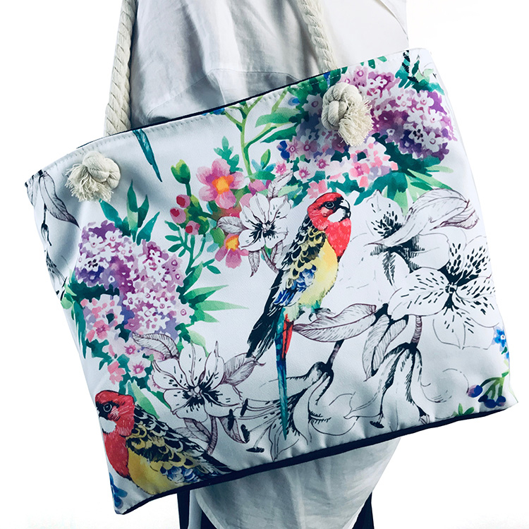 New Design Custom Floral Digital Printing Shopping Grocery Cotton Blank Canvas Duffle Tote Bag