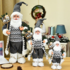 Christmas Decoration Factory Hot Items 2020 Hot Selling Multi Sizes Christmas Gray Santa Claus Figureine Standing Christmas Decoration Supplies