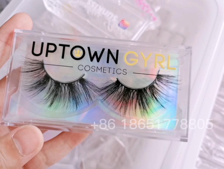 Black White Pink Custom eyelash packaging free label print your own logowhite lash boxes transparent plastic packaging box