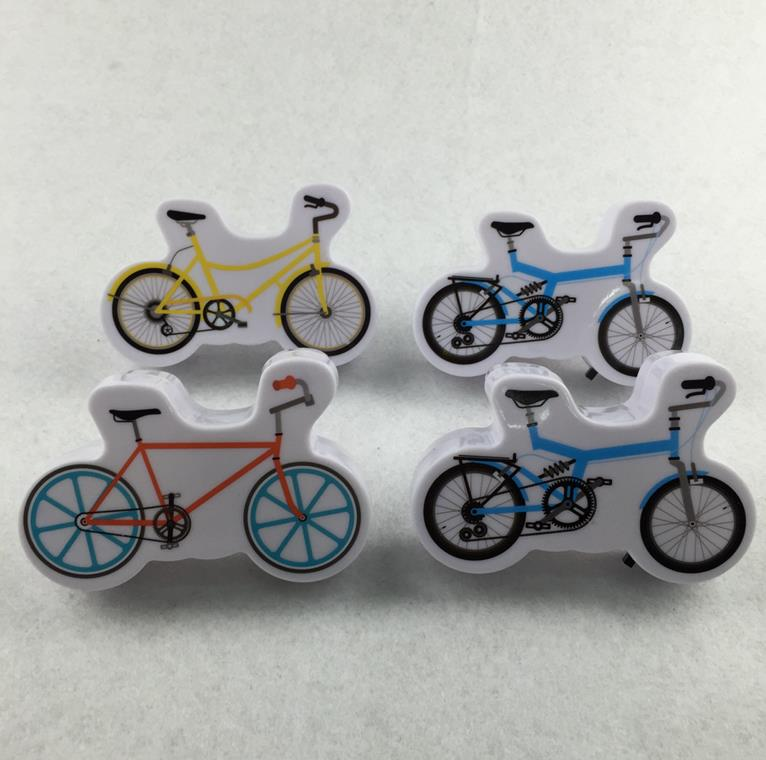 OEM W095 Cartoon bicycle 4 SMD mini switch plug in room usage with  night light wall decoration child gift