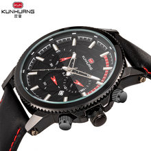Lucky роскошные мужские Кварцевые водонепроницаемые часы, многофункциональные спортивные модные часы с кожаным ремешком, светящиеся мужские...(Китай)