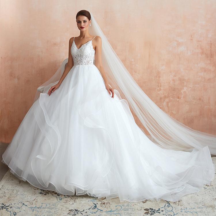 Dressystar dengan Harga Murah Yang Menakjubkan Bola Putih Gaun Sayang Bengkak Tulle Pernikahan Gaun dengan Kapel Kereta