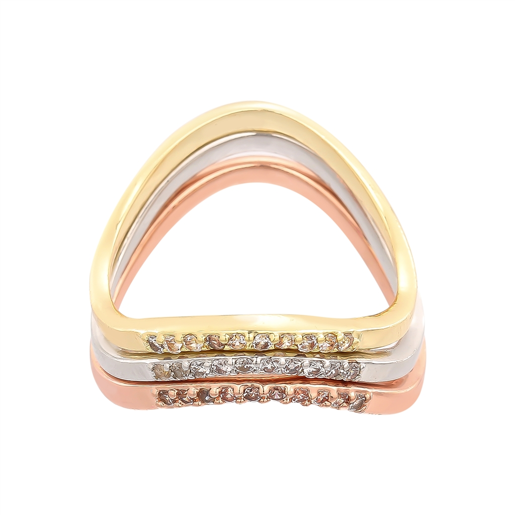 New Arrival Three Colors Ring Sets Geometric Gold Rings Jewelry Women Best Friend Anillos Mujer