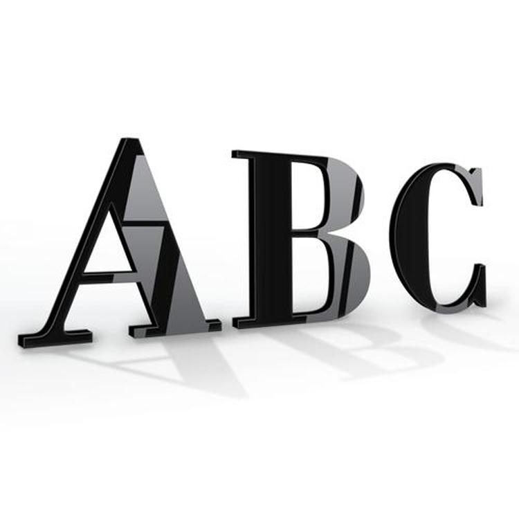 Corte láser logotipo acrílico signo carta de plástico logotipo personalizado alfabeto carta de acrílico
