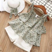 Комплекты одежды для девочек, летняя одежда для маленьких девочек, шифоновая одежда без рукавов с цветочным рисунком + шорты с вышивкой, сол...(Китай)
