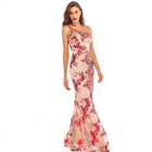 2019 Women Fashion Ladies Sleeveless One Shoulder Red Sequin Apricot Sexy Split Flare Hem Party Maxi Evening Long Dress