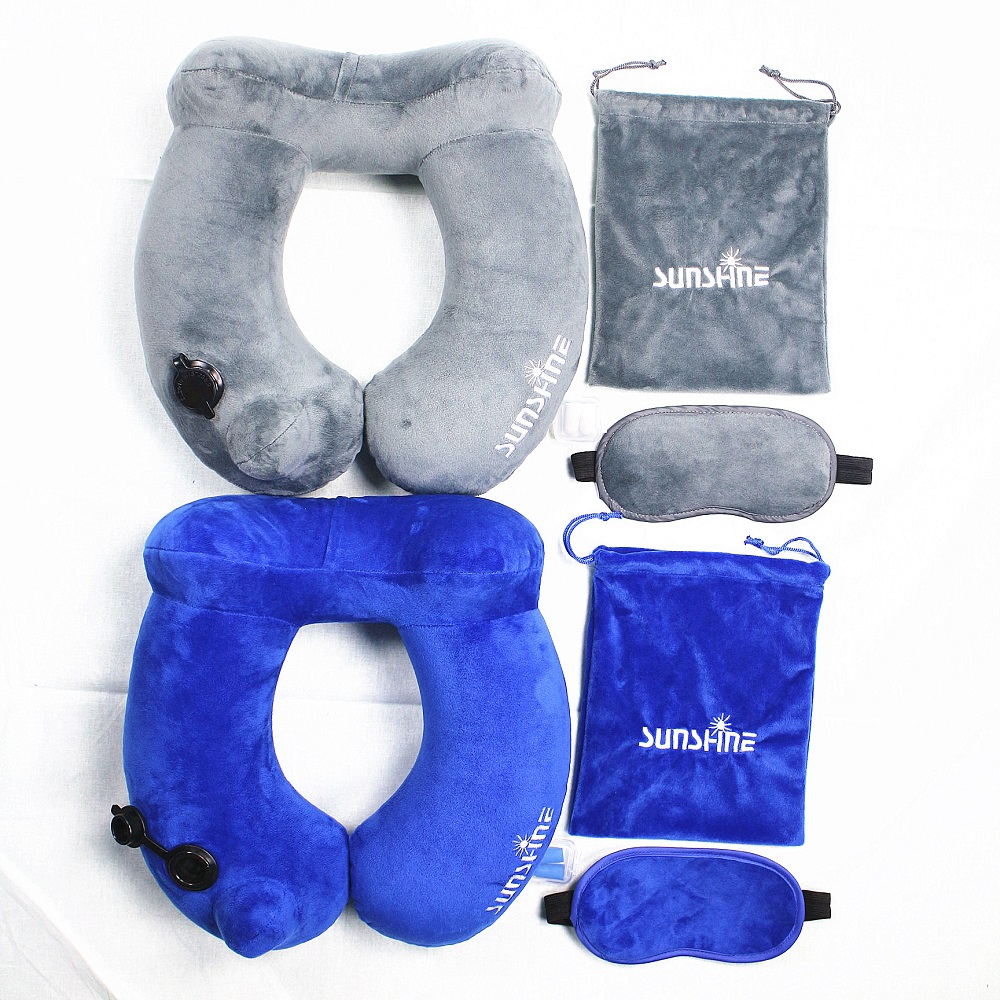 Portable Washable Soft Velvet Cover Inflatable Neck Pillow Head Support Airplane U-Shape Travel Pillow