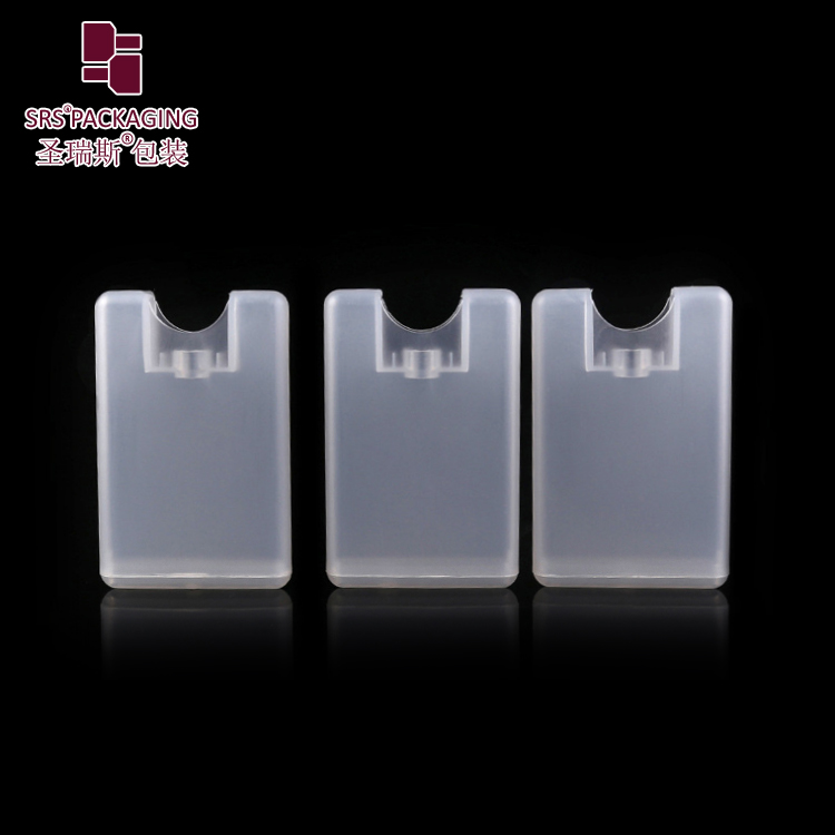 Cosmetic Packaging card shape Clear 20ml spray bottle plastic with Pump