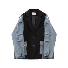 Женский джинсовый пиджак с карманами EAM, Синий Свободный пиджак с отложным воротником и длинным рукавом, весна-осень 2020, 1U356, большие размеры(Китай)