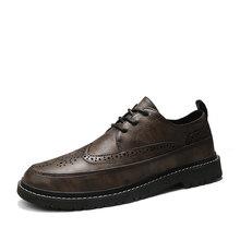 Мужские туфли-броги, классические туфли из натуральной кожи на плоской подошве в стиле ретро, для свадьбы, офиса, 2020(Китай)