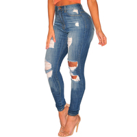 ripped design high waist women skinny jeans