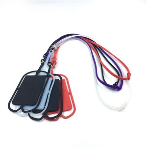 Custom Logo Printing Silicone Mobile Necklace Lanyard Phone Case Back Strap Sling Holder