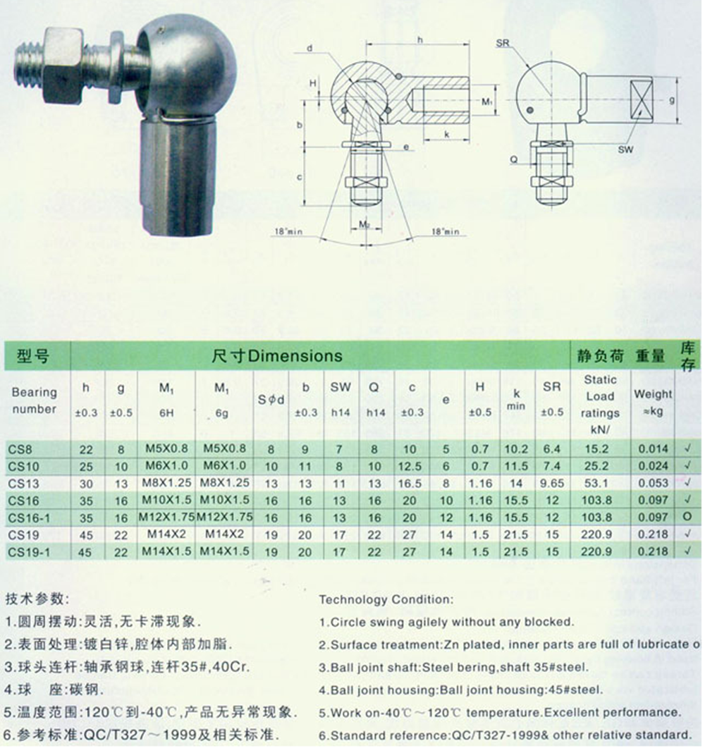Rod end Bearing left and right hand thread ball joint rod end bearing CS16-1