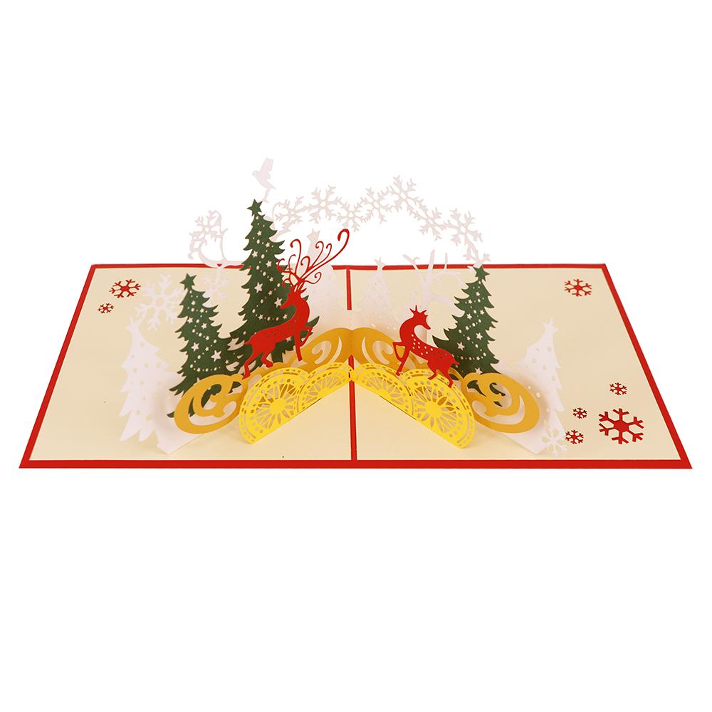 custom xmas design paper craft elk 3d pop up Christmas card