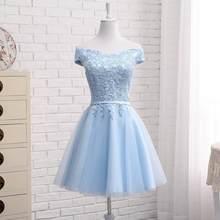 Новые синие платья подружки невесты на шнуровке, женские вечерние платья, элегантные вечерние платья для выпускного вечера, длинное небесн...(Китай)