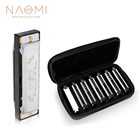 NAOMI 7PCS 10 Holes Harmonica Blues Band Harmonica Set W/Case C,D,E,F,G,A,Bb Brass Harmonica for Sale