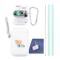 Creative pocket personal gift 25 cm folded silicone drinking straw with washing cleaner in white square box with carabiner