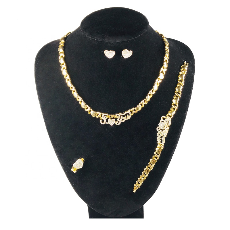 Luxury Jewelry Sets 18k Gold Filled I Love You Necklace Sets Xoxo Bridal African Women's Jewellery Set, Gold silver